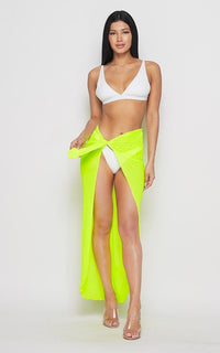 Neon Open Front Sheer Cover Up Skirt - Yellow - SohoGirl.com