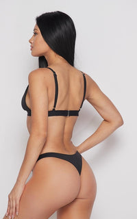 Seamless Triangle Top and Bikini Thong Set - Black