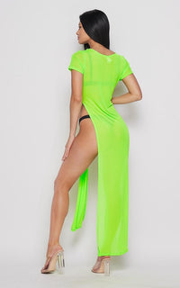Neon Double Slit Sheer Maxi Cover Up - Green