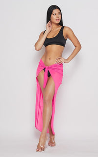 Neon Open Front Sheer Cover Up Skirt - Pink - SohoGirl.com