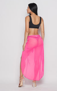Neon Open Front Sheer Cover Up Skirt - Pink