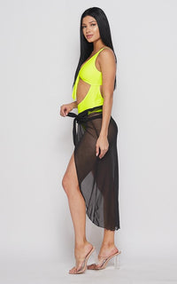 Open Front Sheer Cover Up Skirt - Black