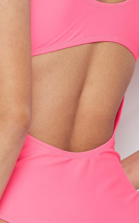Neon Tie Front Cut Out One Piece Swimsuit - Pink