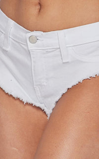 Vibrant High Waisted Denim Booty Shorts - White