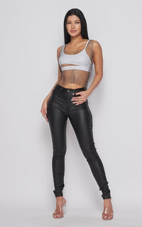 Rhinestone Fishnet Crop Top Cover Up - Black - SohoGirl.com