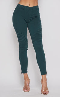 Ribbed Biker Ankle Zipped Jeggings - Emerald Green