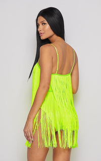 Neon Fringe V-Neck Mini Dress - Green - SohoGirl.com