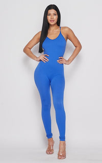 Ribbed Camisole Unitard in Royal Blue