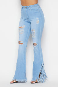 High Waisted Super Distressed Bell Bottom Jeans - Light Denim - SohoGirl.com
