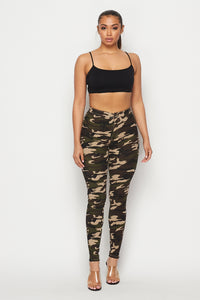 Super High Waisted Stretchy Skinny Jeans in Camouflage S-XXXL