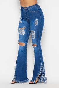 High Waisted Super Distressed Bell Bottom Jeans - Medium Denim