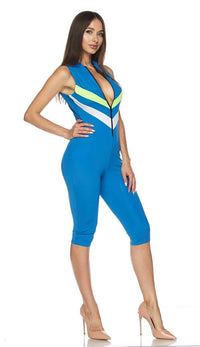 Sleeveless Chevron Stripe Capri Jumpsuit in Blue (Plus Sizes Available) - SohoGirl.com