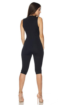 Sleeveless Chevron Stripe Capri Jumpsuit in Black (Plus Size Available) - SohoGirl.com