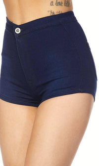 Dark Blue Solid High Waisted Shorts - SohoGirl.com