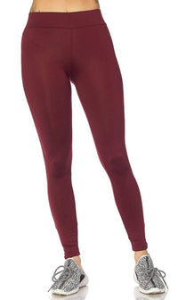 Burgundy Basic High Waisted Nylon Sport Leggings - SohoGirl.com