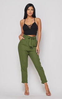 Linen Tie Waist Cropped Pants - Olive