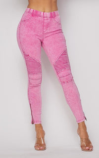 Ribbed Biker Ankle Zipped Jeggings - Neon Pink - SohoGirl.com
