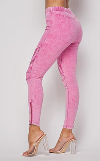 Ribbed Biker Ankle Zipped Jeggings - Neon Pink