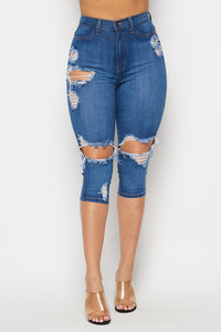 Over The Knee Distressed Bermuda Shorts - Medium Wash