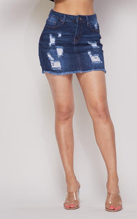 Distressed Denim A-Line Short Skirt (S-3XL) - Dark Denim