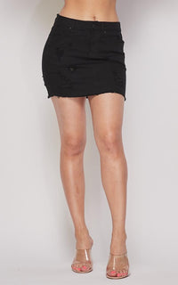 Distressed Denim A-Line Short Skirt - Black