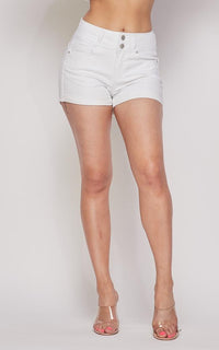 Stretchy 2-Button Cuffed Denim Shorts - White