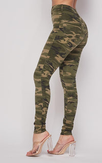 Vibrant Camouflage Classic High Waist Skinny Jeans - SohoGirl.com