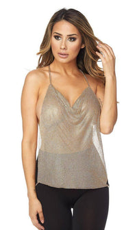 Gold Rhinestone Cowl Top