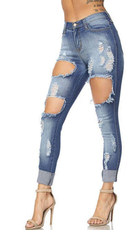 High Waisted Super Distressed Cut Out Skinny Jeans