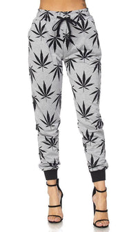 Gray Classic Weed Print Drawstring Joggers