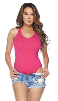 Fuchsia Medium Coverage Racerback Tank Bodysuit - SohoGirl.com