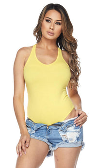 Yellow Medium Coverage Racerback Tank Bodysuit