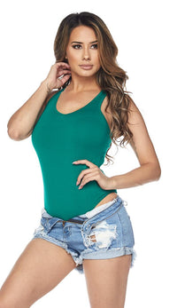 Green Medium Coverage Racerback Tank Bodysuit - SohoGirl.com