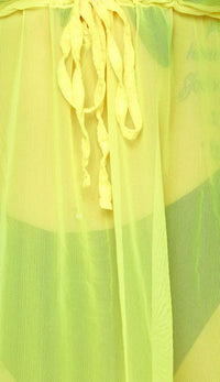 Yellow Short Sleeve Mesh Cover Up Dress