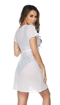 White Short Sleeve Mesh Cover Up Dress