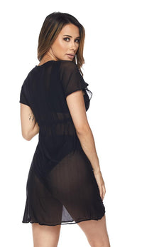 Black Short Sleeve Mesh Cover Up Dress - SohoGirl.com
