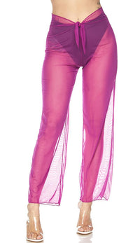 Violet Front Tie Mesh Cover Up Pants - SohoGirl.com