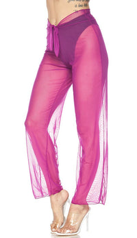 Violet Front Tie Mesh Cover Up Pants