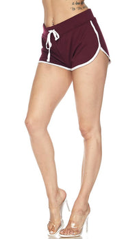 Side Stripe Comfy Drawstring Shorts - Burgundy - SohoGirl.com