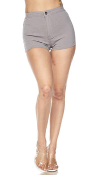 Solid High Waisted Shorts in Gray