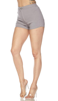 Solid High Waisted Shorts in Gray - SohoGirl.com