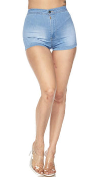 Solid High Waisted Shorts in Light Blue - SohoGirl.com