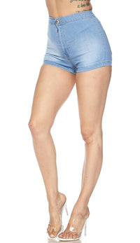 Solid High Waisted Shorts in Light Blue