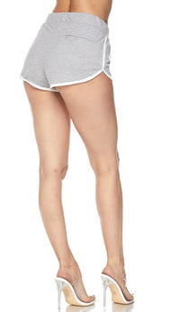 Side Stripe Comfy Drawstring Shorts - Gray - SohoGirl.com