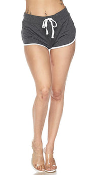 Side Stripe Comfy Drawstring Shorts - Charcoal - SohoGirl.com