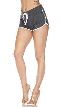 Side Stripe Comfy Drawstring Shorts - Charcoal