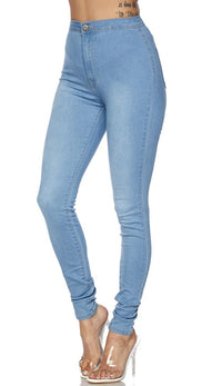 Super High Waisted Stretchy Skinny Jeans (S-3XL) - Light Blue - SohoGirl.com