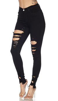 Distressed High Waisted Ripped Skinny Jeans - Black