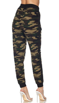 Camouflage Side Stripe Drawstring Jogger Pants
