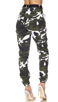 Belted Camouflage Cargo Jogger Pants - Olive-White (Plus Sizes Available)